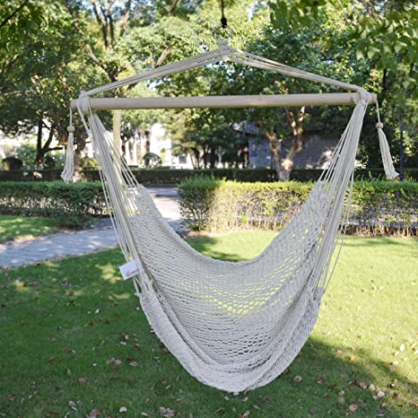 Amazoncom Strong Camel Hanging Tree Swing Cotton Rope Hammock