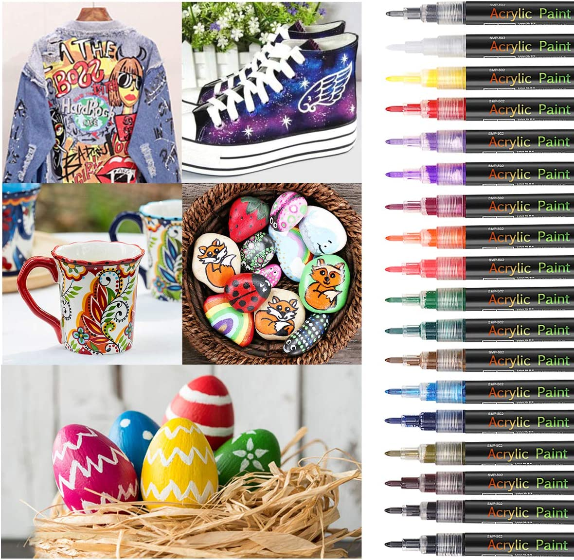 18 Colors Acrylic Paint Pens Set for Rock Painting,Sawake 0.7mm Extra Fine Tip Craft Paint Markers Set,DIY Craft Making Supplies,paint for kids,Quick-Dry,for Rocks Painting Ceramic,Glass,Wood