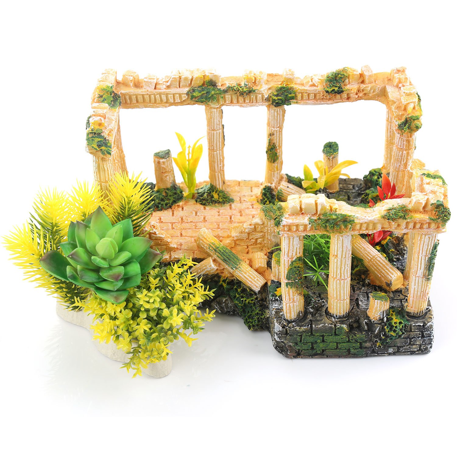 Amazon.com: ZUINIUBI Aquarium Decorations, Artificial Plastic Succulent Plants and Resin Roman Column Wreck Fish Tank Caves Hide Hut Ornaments: Garden & ...