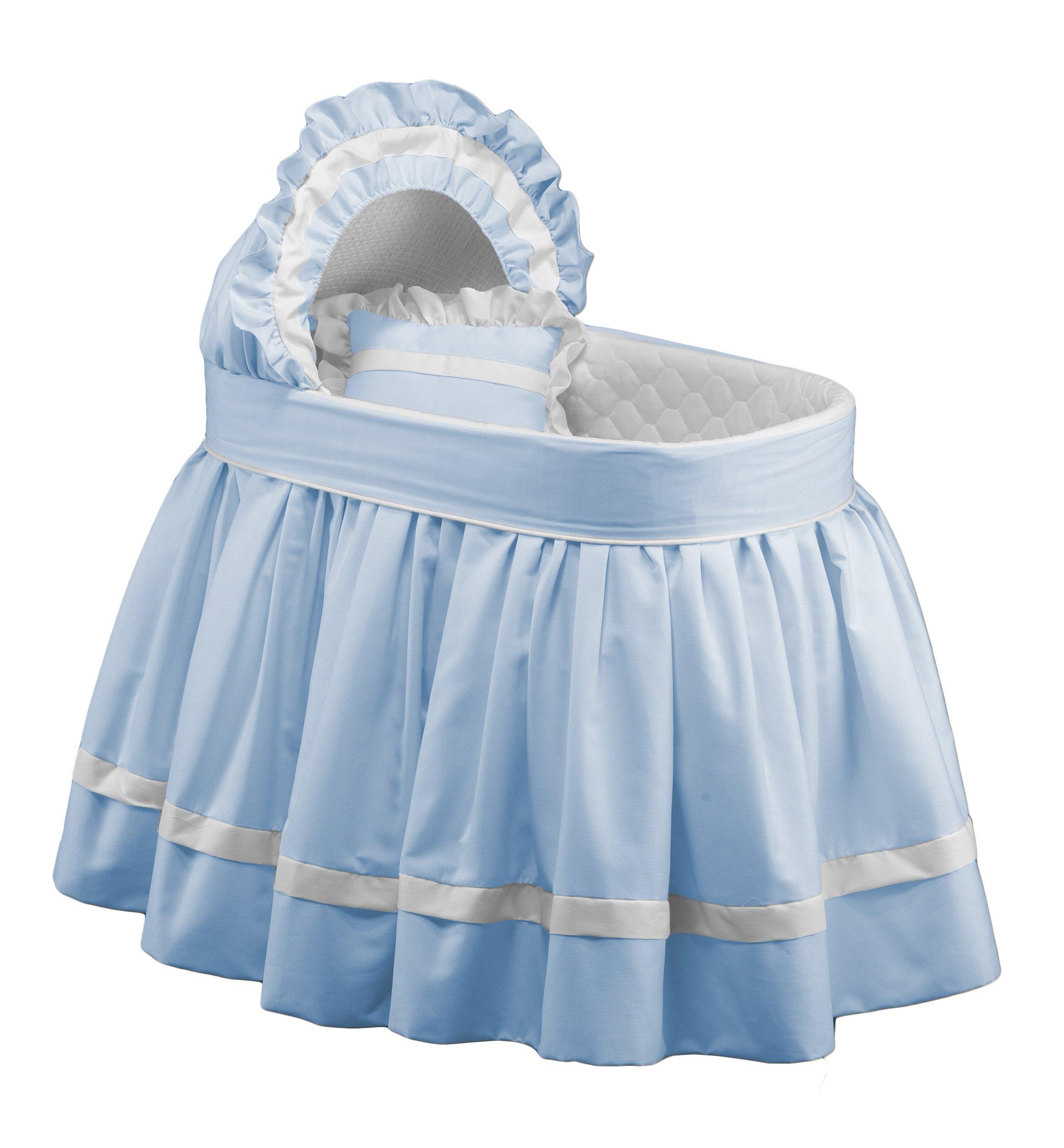 Baby Doll Bedding Regal Pique Bassinet Set, Blue