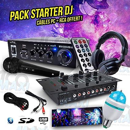 Pack DJ amplificador 100 W USB/SD/BT + mesa de mezclas + auricular ...