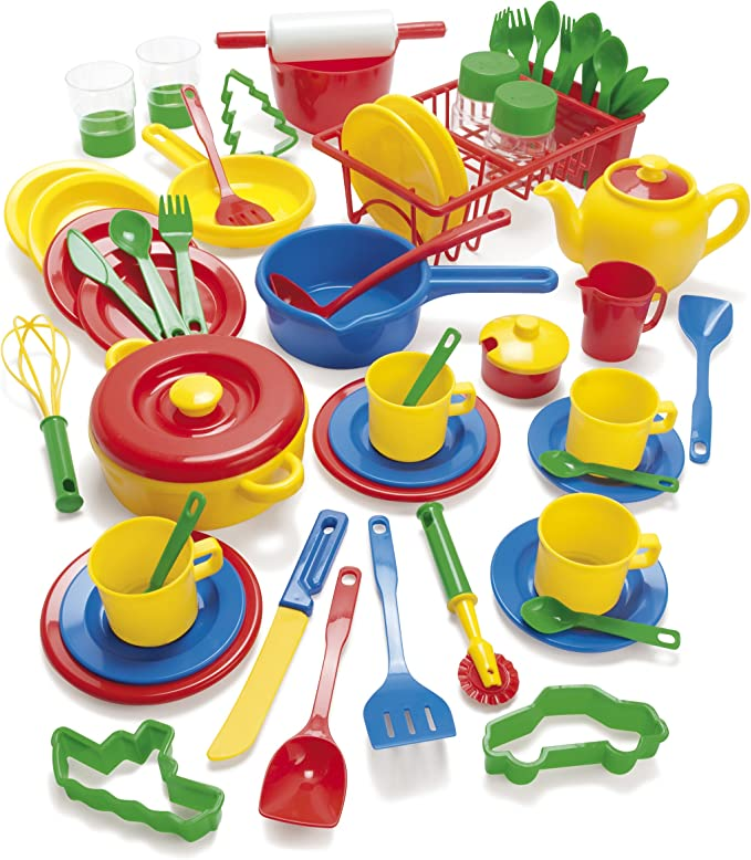 Dantoy Green Garden Baking Set with Tray 25 Pieces Pretend Play for Kids Made in Denmark