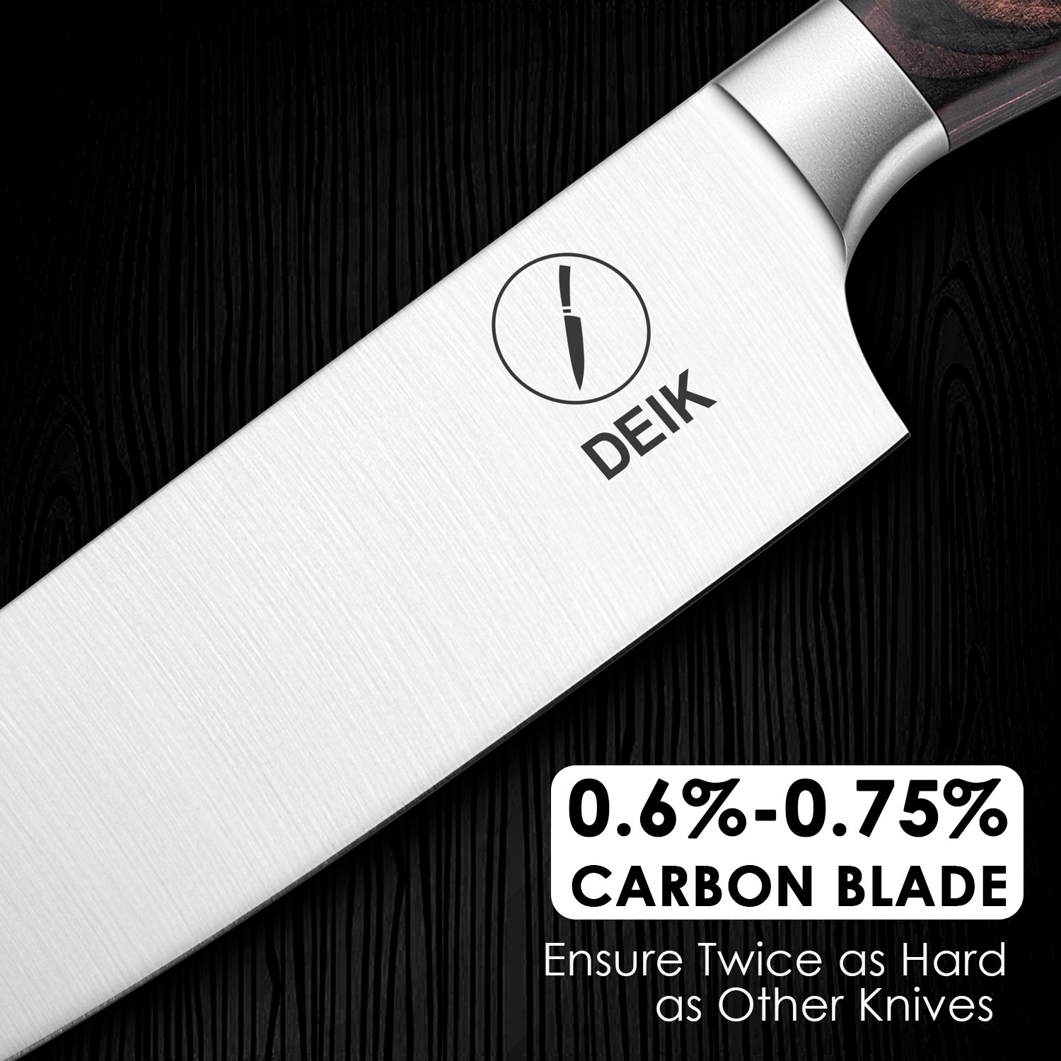 Deik Chef Knife, 8 Inch Kitchen Knife with 1.4116 Imported Stainless Steel, Professional Grade Balance and Super Sharp with Ergnonomic Classy Wooden Handle by Deik (Image #3)