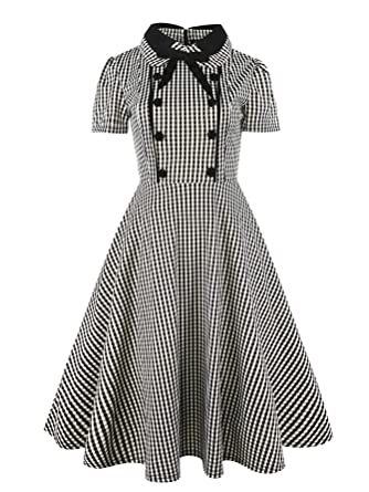 c7ae4a757507 SheIn Women's Vintage Short Sleeve Peter Pan Collar Checkered Casual Flare  Dress Small Black