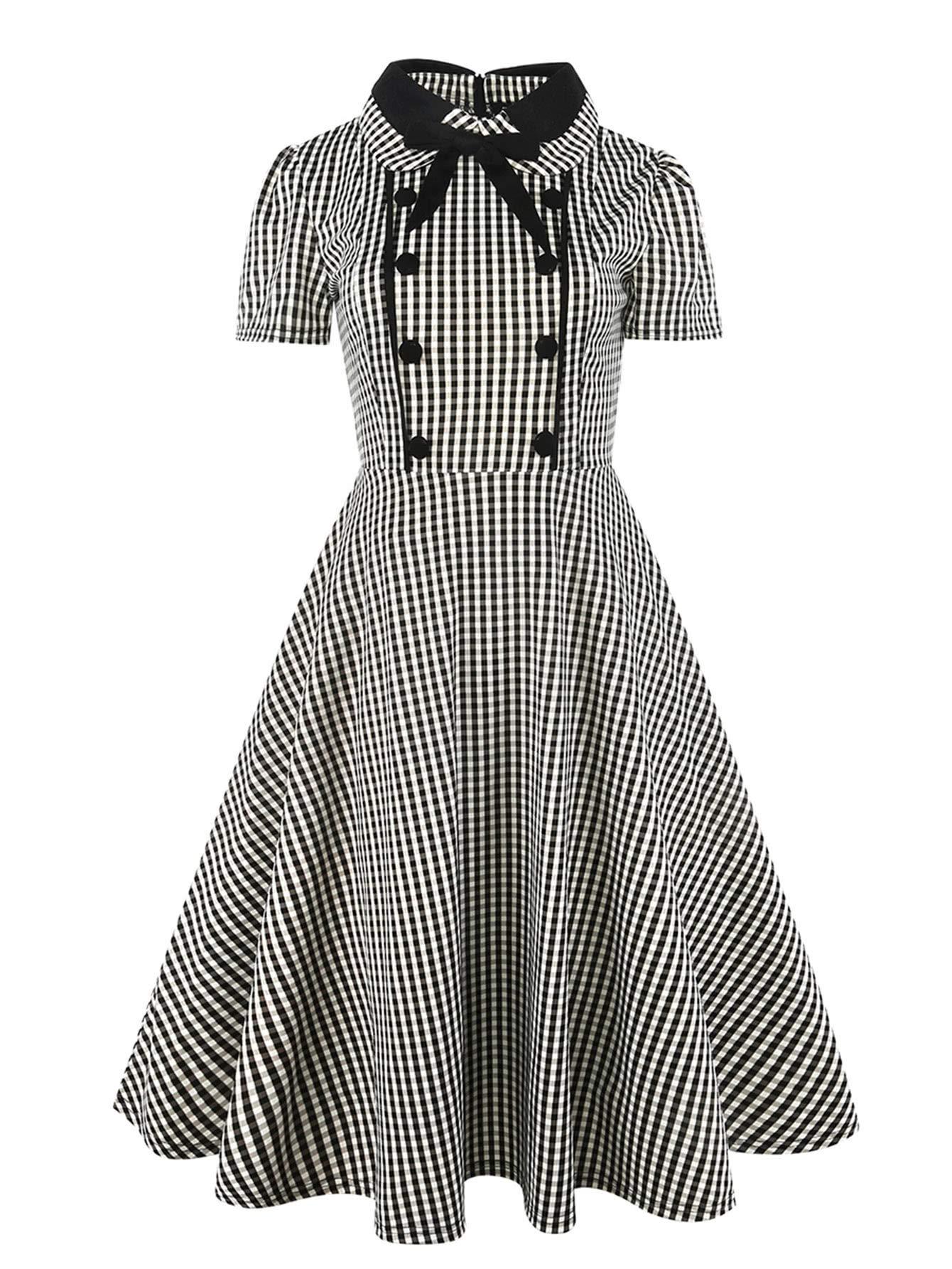 ab47c3c62 SheIn Women's Vintage Short Sleeve Peter Pan Collar Checkered Casual Flare  Dress Medium Black