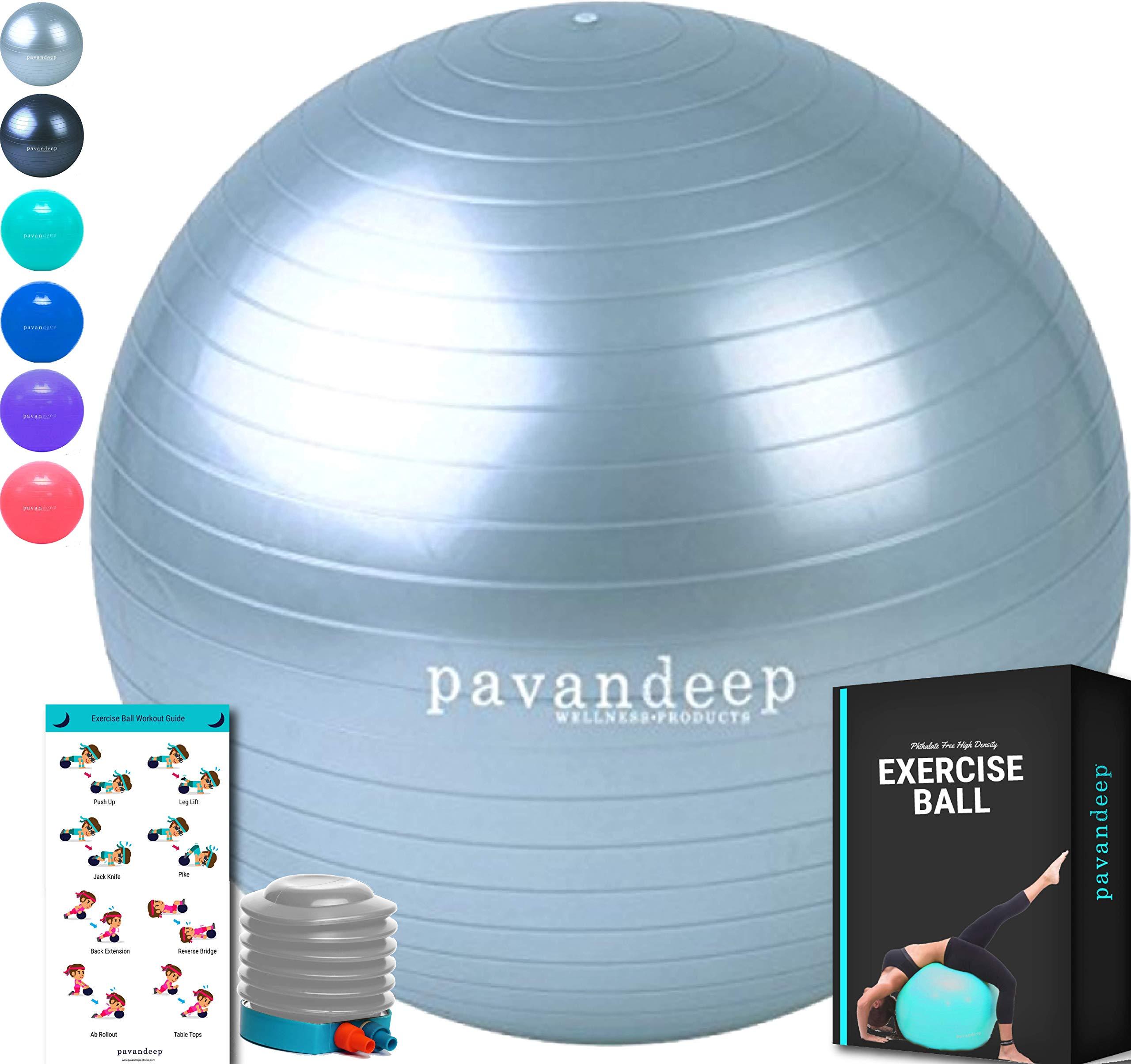 Pavandeep Exercise Ball Chair, BPA Free (Silver, L 75cm)