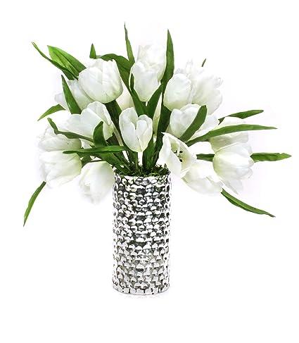 Amazon Dalmarko Designs Co148 White Tulips In Silver Vase Home