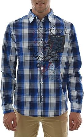 Desigual - Camisa casual - para hombre azul Large: Amazon.es: Ropa y accesorios