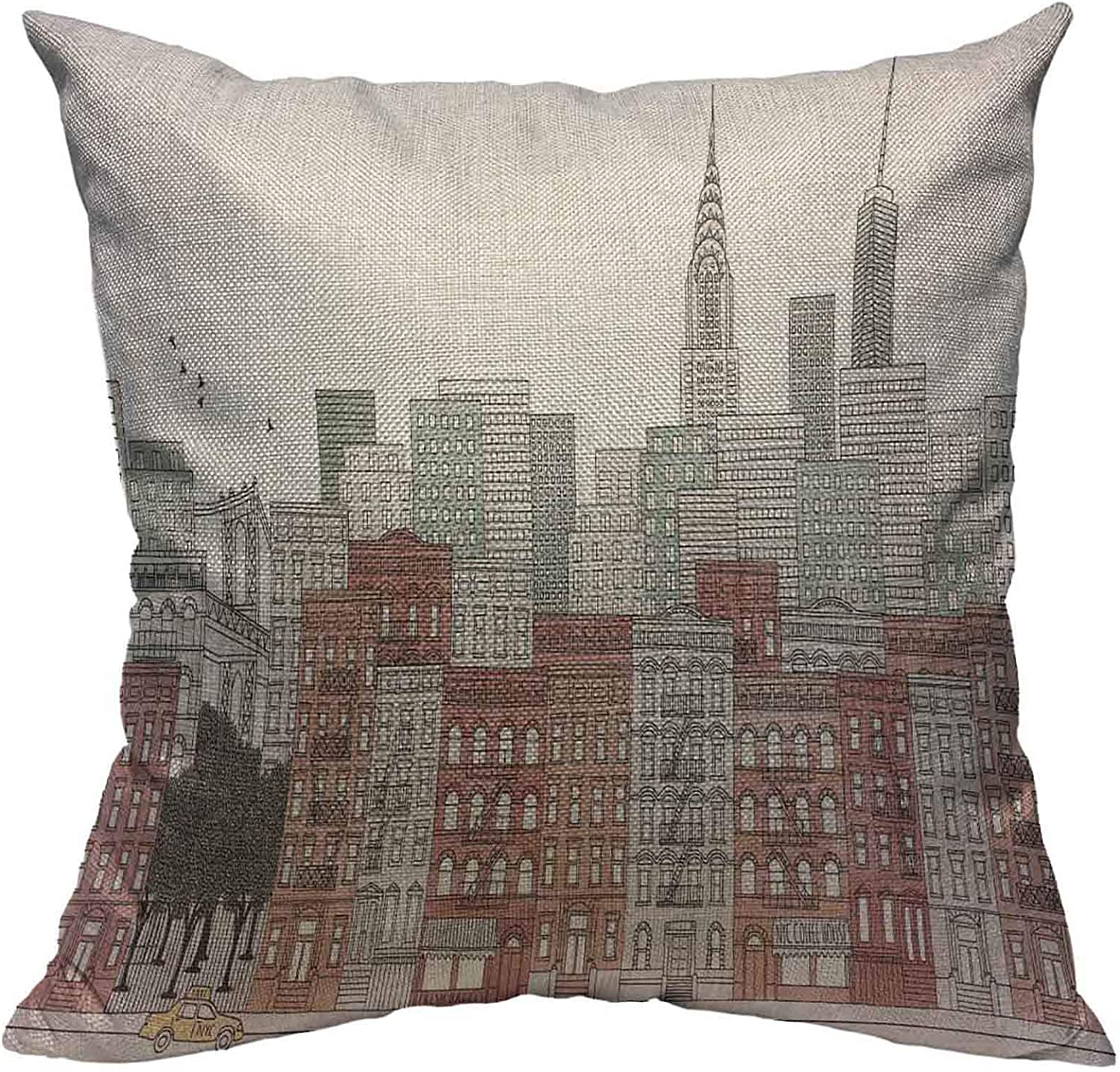 VERSUSWOLF Throw Pillow Covers Colorful America New York City of The City'S Skyline Digitally Colored Ink Apartment Architecture Cotton Linen Decorative Square Pillowcases Cushion Cover 18 X 18 Inch