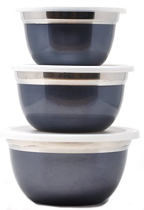 Ernesto - Juego de cuencos de acero inoxidable (tres, con tapas de plástico)