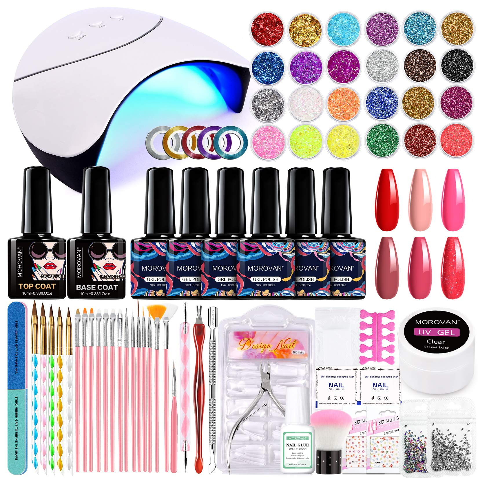 Morovan Gel Nail Kit with UV Light - Nail Kit for Beginners with Everything Nail Supplies 6 Colors Gel Nail Polish Set with Glitter and Sequins, 36W LED Nail Lamp,Base Top Coat Nail Tools