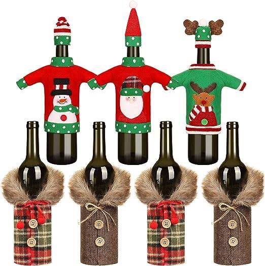 3 Pezzi Christmas Bottle Covers Ugly Sweater Wine Cover Sciarpa Cappello Bottiglia Decor Festa di Natale Decorazioni per la tavola Christmas Wine Bottle Covers