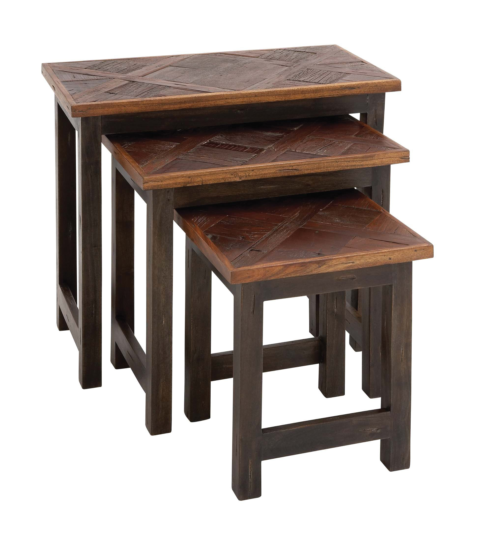 Benzara The Amazing Wood Nesting Table, Set of 3