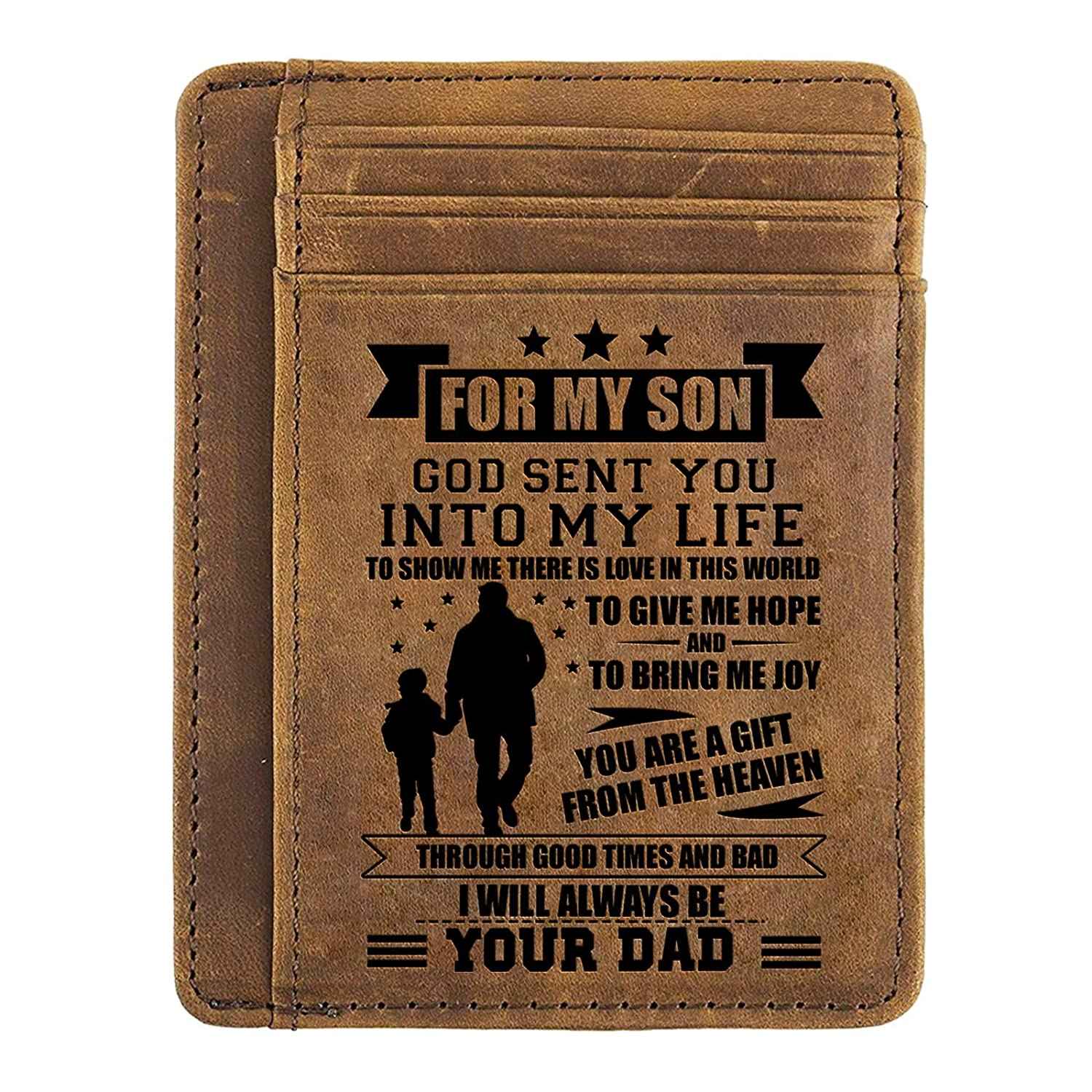 e1d78449e7fe Amazon.com  Minimalist Wallets Gift for Son from Dad - Engraved Leather  Front Pocket Wallet - Custom Wallet RFID Blocking (A - Dad to Son)  Clothing