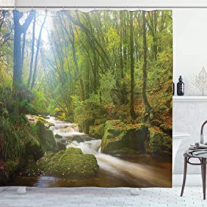 ZHHLD Waterfall Nature Reserve Scene Bathroom Shower Curtain Waterproof Non-Toxic Mold Proof Privacy Opaque Bathroom Decoration Easy to Clean 71x71inch Including 12 Plastic Hooks