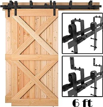 5 a 8 pies de alta resistencia Bypass doble puerta corredera Barn puerta Hardware (recubierto de polvo negro esmerilado): Amazon.es: Bricolaje y herramientas