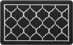 HappyTrends Door Mat Outdoor Indoor Entryway Doormat Welcome Mat, Super Absorbent Non Slip Rubber Floor Mat Low-Profile Rug Trap Dirt for Entry,Patio,High Traffic Areas(20in x 32in ,Black)