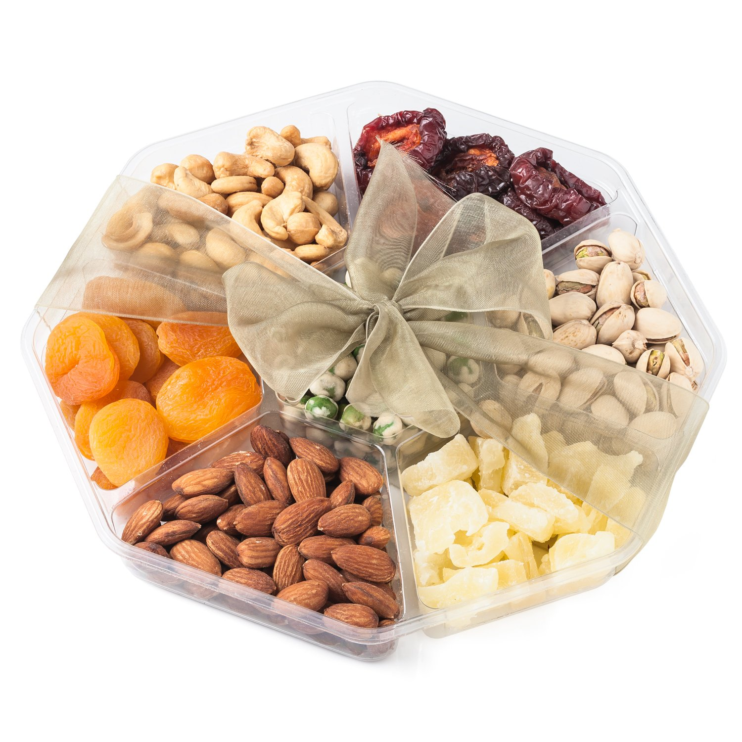 Nutty New Yorker Gourmet Food Fruit and Nuts Gift Basket, 3 Different Fruits 3 Different Nuts and Wasabi Peas - 22.7 Ounces - Kosher Certified by Nutty New Yorker