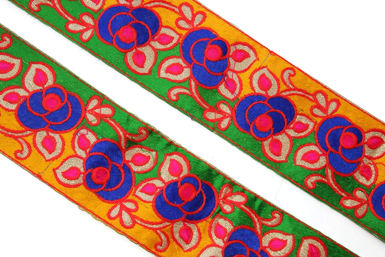 Purple Trim Sari Border Floral Embroidered Fabric Trim 8.8 Cm Wide By The Yard