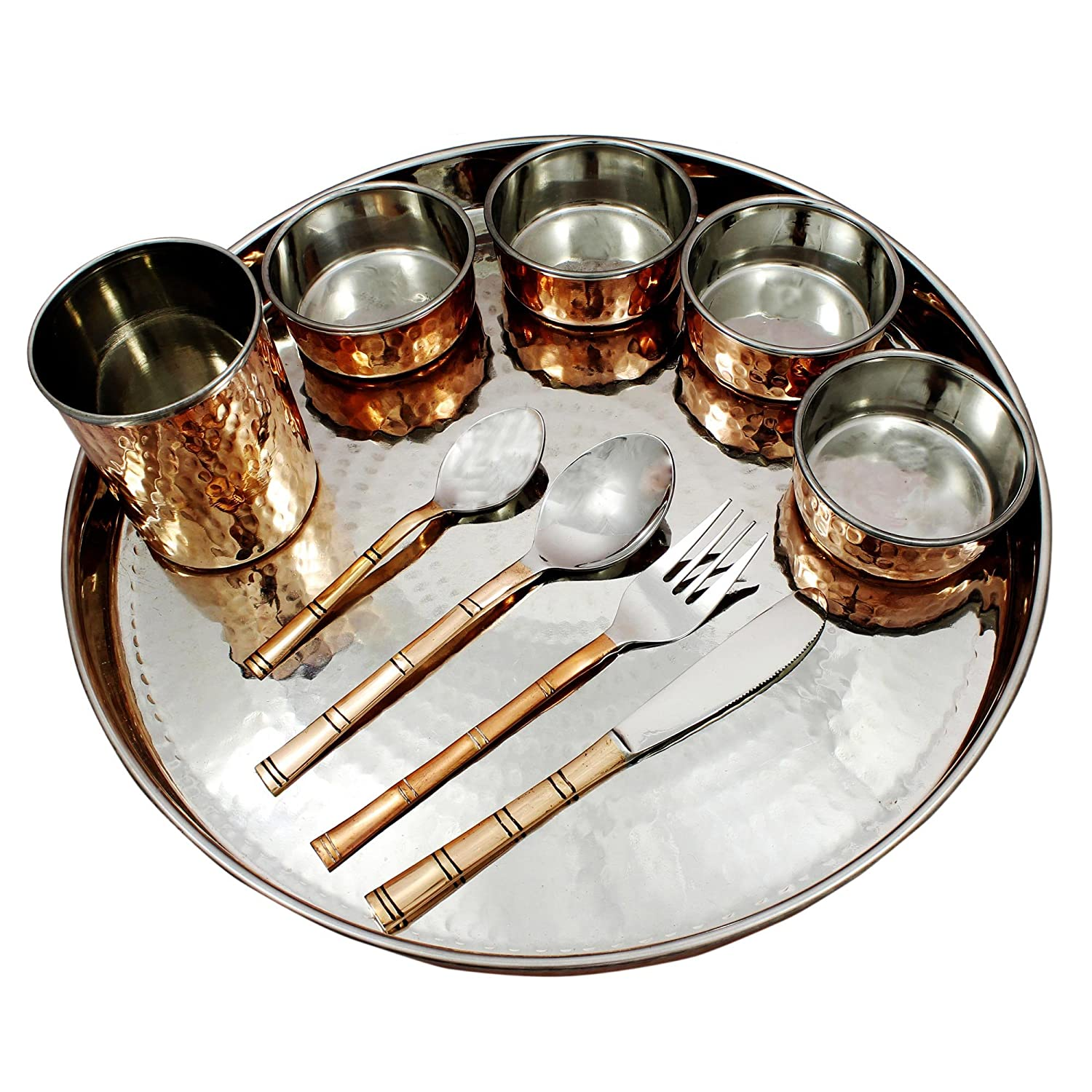 Amazon.com | Dinnerware Set Service for 1 Dinner Plates Bowls Mugs and Cutlery Set 10 -Piece Set Copper Stainless Steel Dinnerware Sets  sc 1 st  Amazon.com & Amazon.com | Dinnerware Set Service for 1 Dinner Plates Bowls Mugs ...