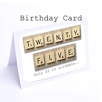 Birthday Card Scrabble 25th Cards Amazoncouk Office Products