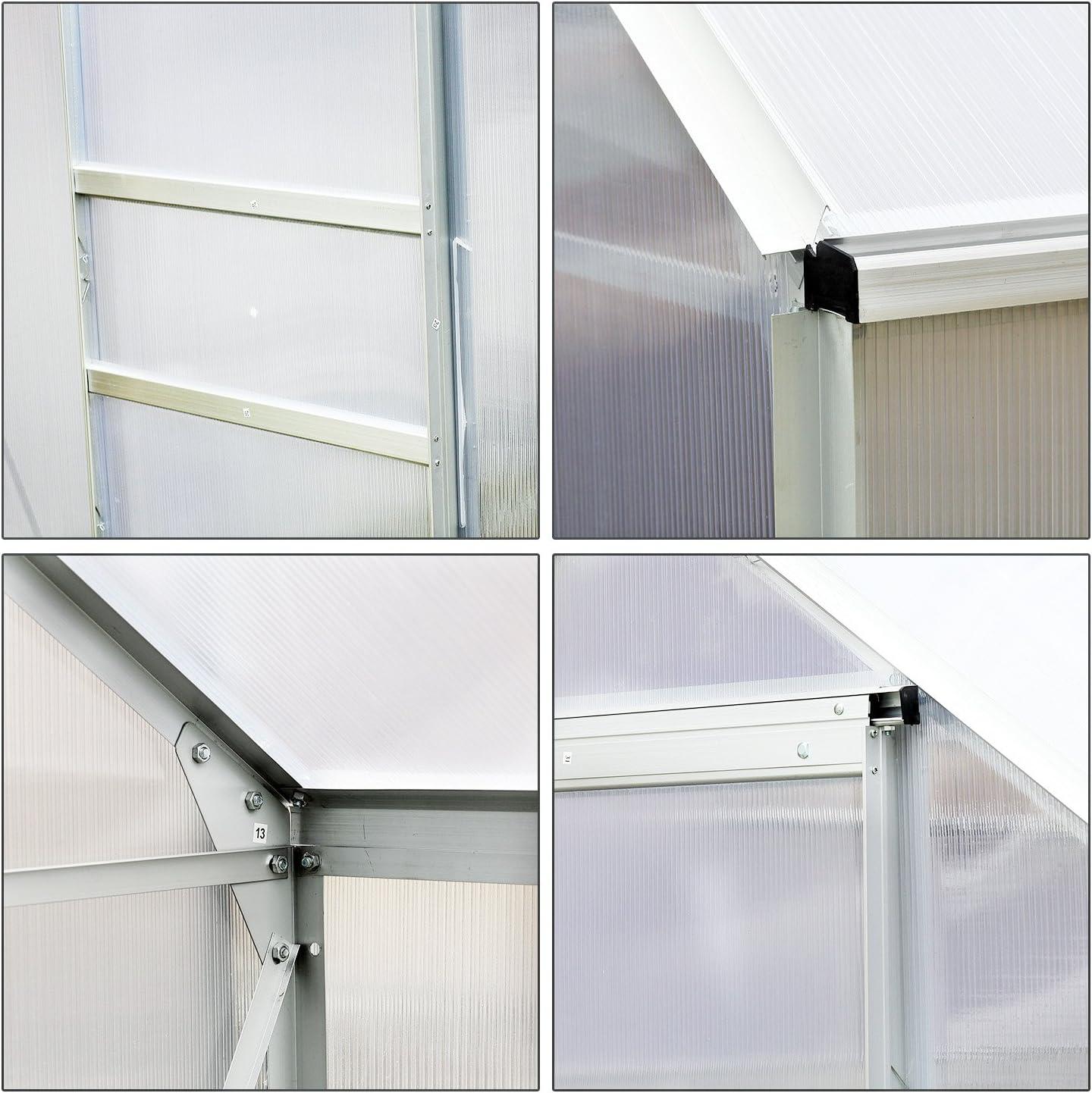 Invernadero de jardín, de aluminio policarbonato de 9, 74 m³, 2, 5 x 1, 9 x 2, 05 m (largo x ancho x alto) con fundación, ventanas y puerta corredera.: Amazon.es: Jardín
