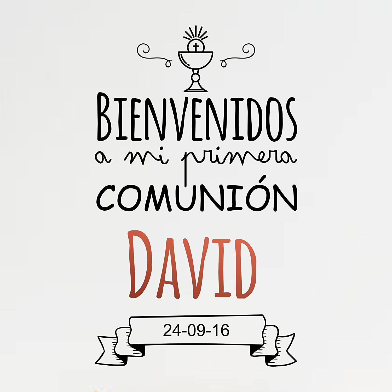 Enkolor Decoración Comunión/Vinilos Personalizados/Nombre/Fecha/Niño/Niña/Colores: Amazon.es: Hogar