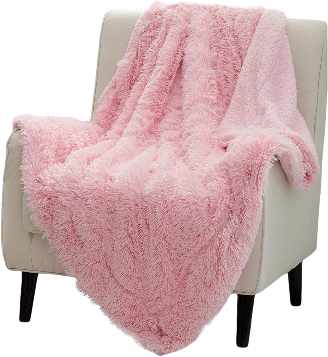 Bedsure Soft Fuzzy Faux Fur Sherpa Fleece Throw Blanket Pink- Warm Thick Fluffy Plush Cozy Reversible Shaggy Blanket for Sofa and Bed -Comfy Furry Blanket, 60x80 inches