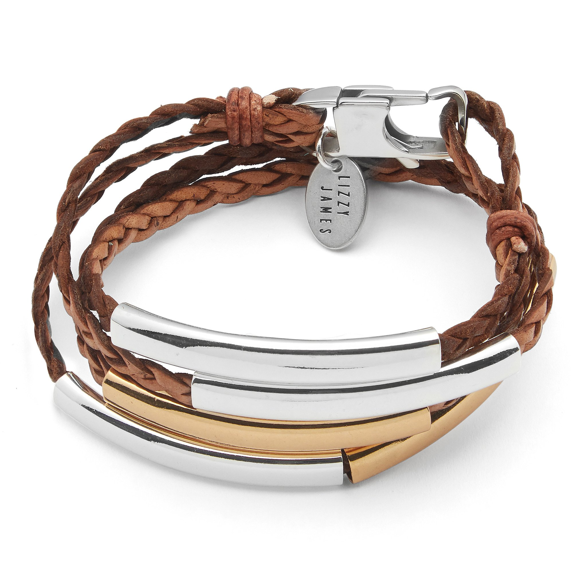 Lizzy James Mini Addison Braided Leather Wrap Bracelet in Gold and Silver in Natural Antique Brown (Large)