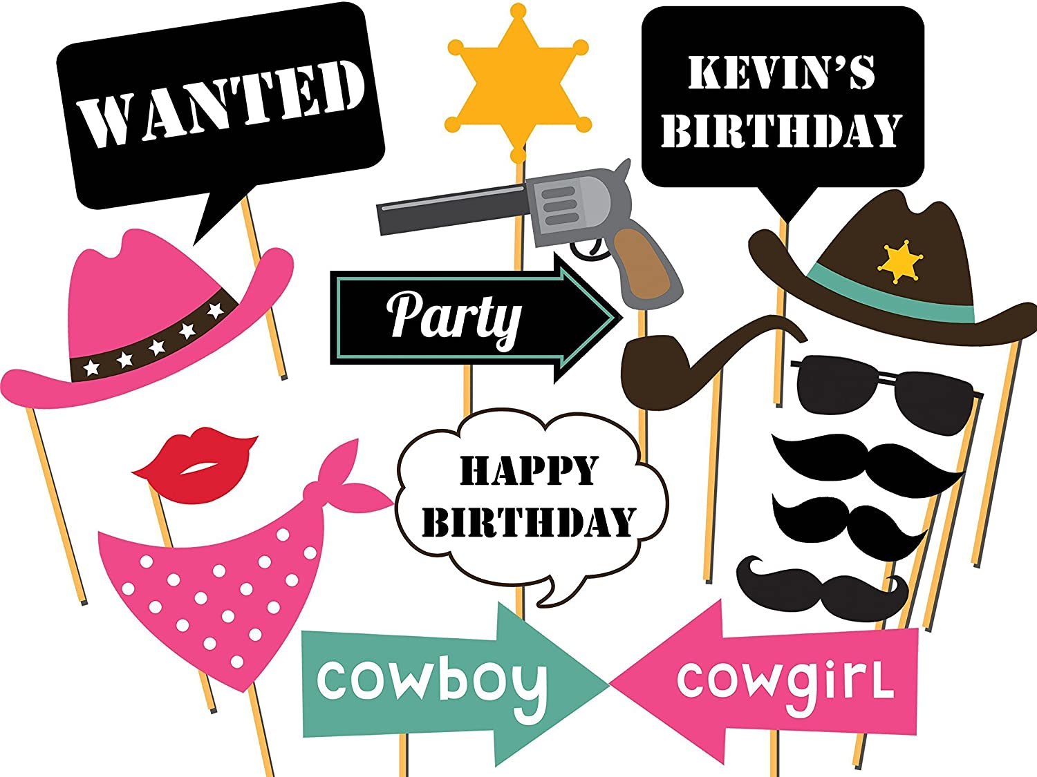 Amazon.com: Custom Cowboy Photo booth props - Size 36x24 ...