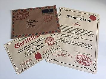 La fábrica del Reino Unido personalizado carta y certificado de Papá Noel Papá Noel Navidad cualquier nombre niño niña buena lista