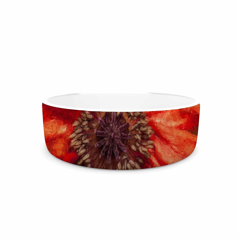 7\ KESS InHouse Ginkelmier Poppy  orange Floral Pet Bowl, 7
