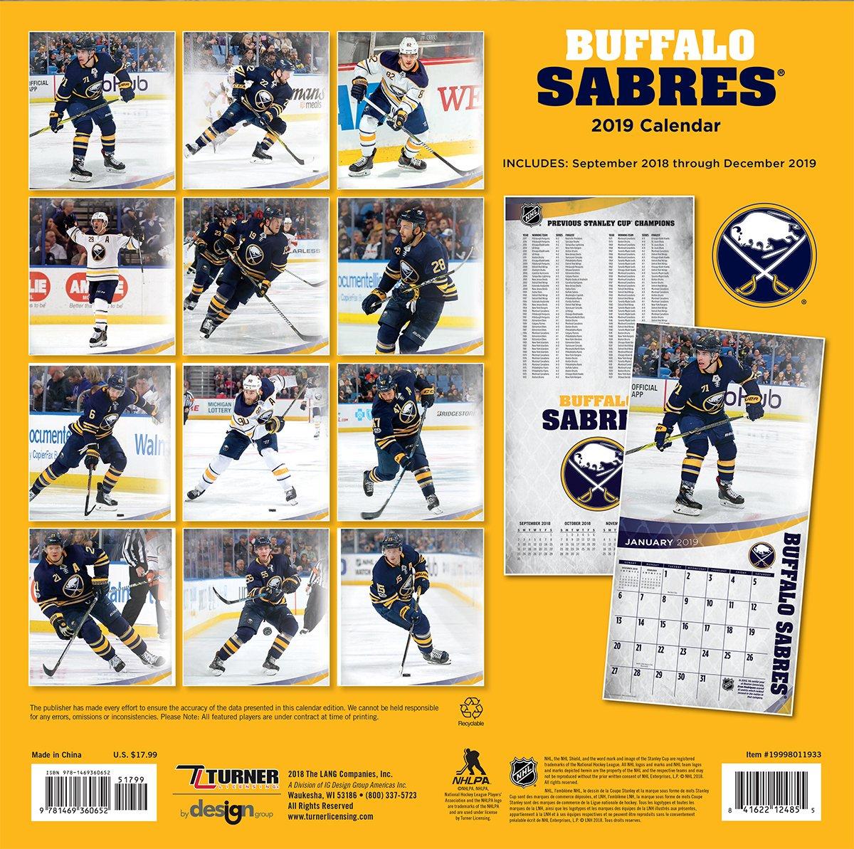 Turner 1 Sport Buffalo Sabres 2019 12X12 Team Wall Calendar Office Wall Calendar 19998011933