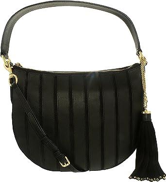 5abca429e832 Michael Kors 30F6ABJH6S-001 Women's Brooklyn Applique Black Suede Leather  Convertible Medium Hobo