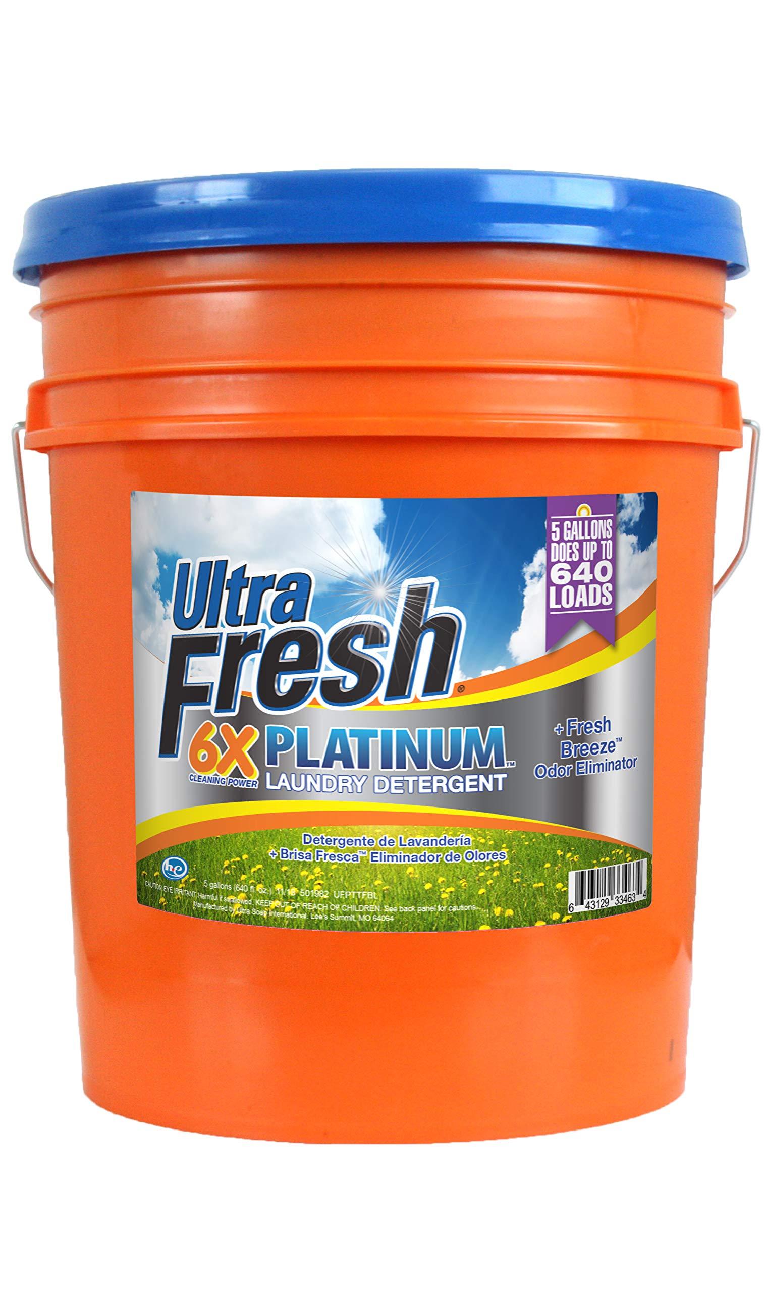 Ultra Fresh UFPTTFBL Platinum Fresh Breeze Liquid Laundry Detergent, HE, 5 gal, 640 oz.