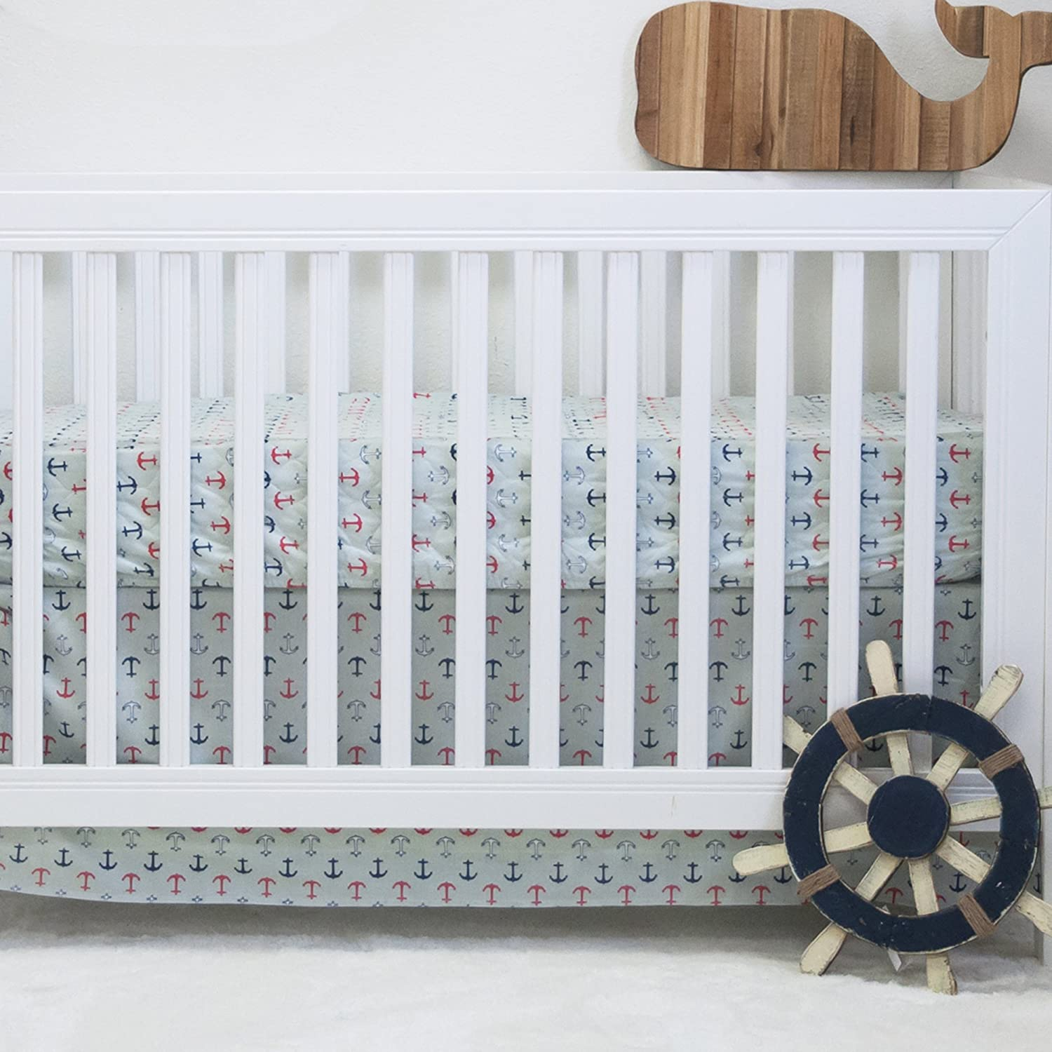 Pam Grace Creations 2 Piece Nautical Basics Crib Bedding Set, Blue/Red BD2-NAUTICAL