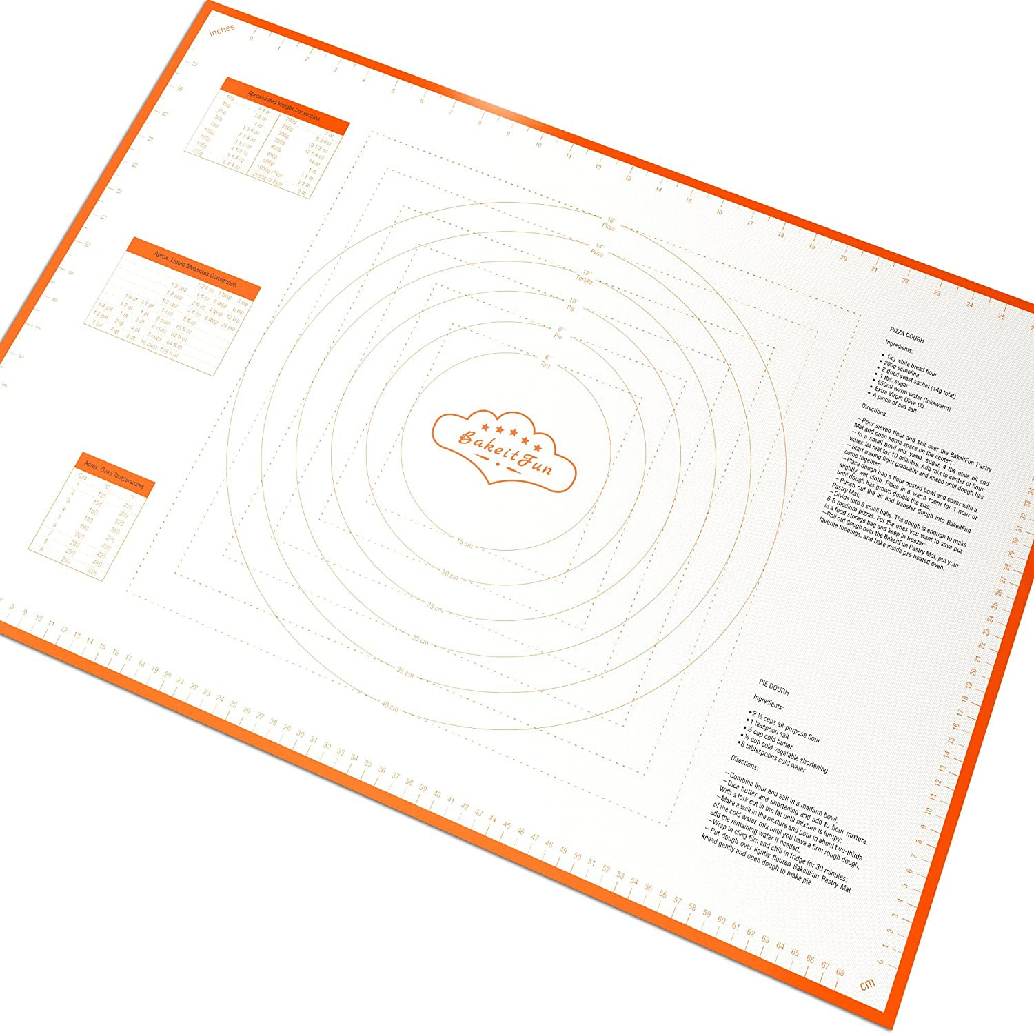 Silicone Pastry Mat With Measurements | X-Large Size: 29.5 x 20.5 Inches | FDA and LFGB Approved | Extra Big Baking Mat | Full Sticks To Countertop For Rolling Dough | Conversion Information Included