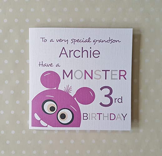 Monster Age Birthday Card 2nd 3rd 4th For Son Grandson Nephew Godson Brother Little Boy Cute Childrens Free UK Delivery