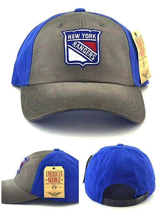 d1bcc932c7e ... ny fitted hat dc254 7a5e8  usa american needle new york rangers new  vintage brown blue distressed slouch dad era strapback hat