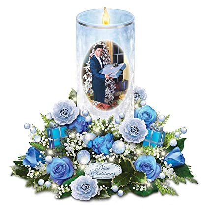 elvis presley candle with blue rose bouquet plays blue christmas and lights up by the bradford