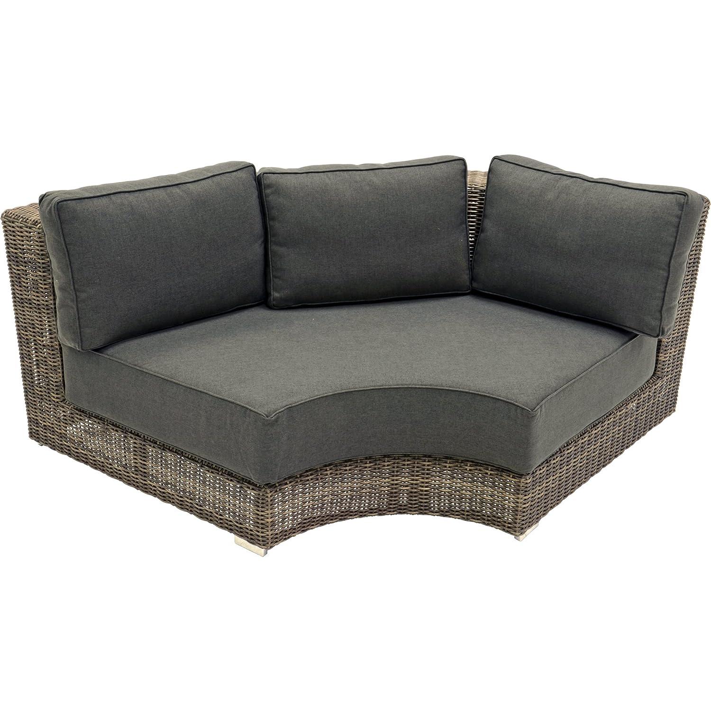 Lounge Eckteil Rund El Toro Marron Sessel Modulares Lounge Konzept Taupe/ Grau Alu Gestell Hochwertig 200x100x75 Cm Kaufen