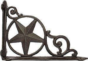 """Decorative Antique Shelf Brace L Bracket Rustic Star Rust Brown Cast Iron Brace Corner Decoration Americana Farmhouse Decor 9.25"""""""