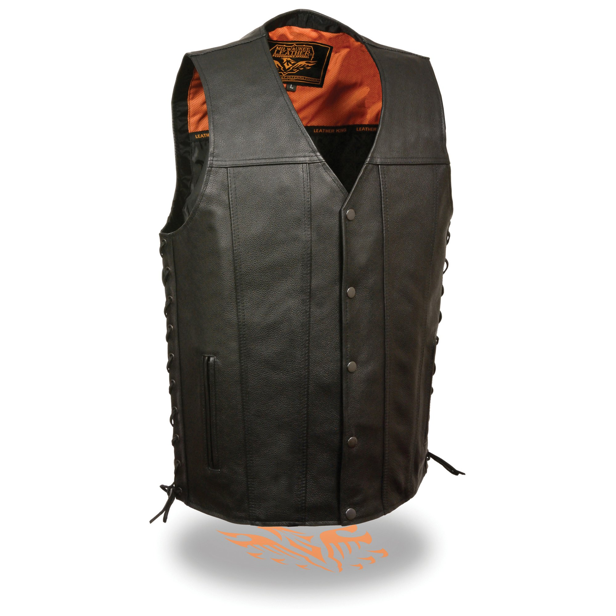 Milwaukee Leather Men's Straight Bottom Extra Long Side Lace Vest w/ One Panel Back & Dual Inside Gun Pockets (XX-Large)