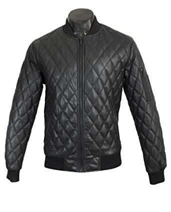 Zara Men Faux Leather Quilted Bomber Jacket 2398404 X Large At