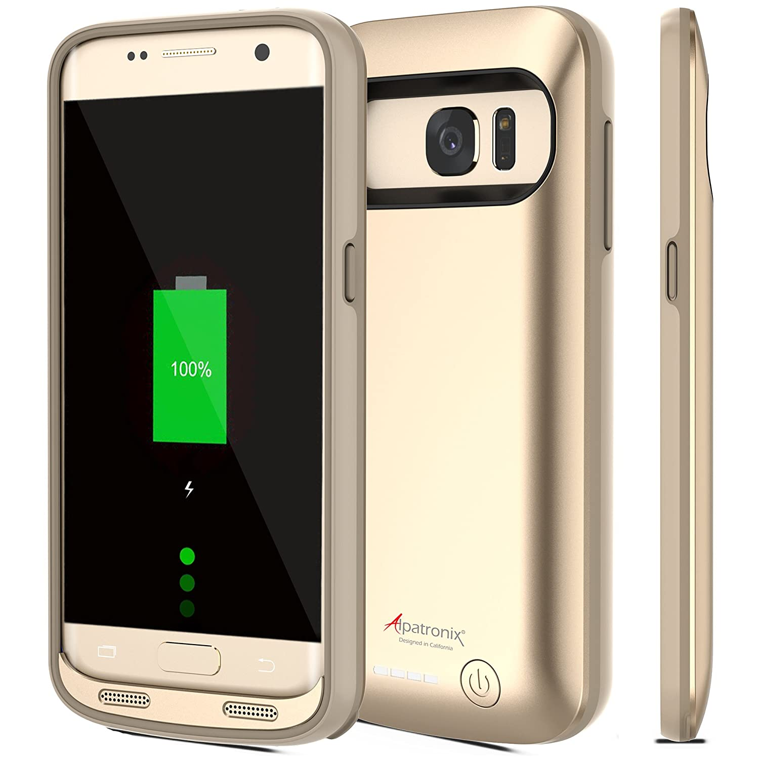 Alpatronix Galaxy S7 Battery Case, BX420 4500mAh Slim External Protective Rechargeable Portable Charging Case Charger Cover for Samsung Galaxy S7 Juice Bank Power Pack [Android OS 8.0+ (Oreo)] - Gold