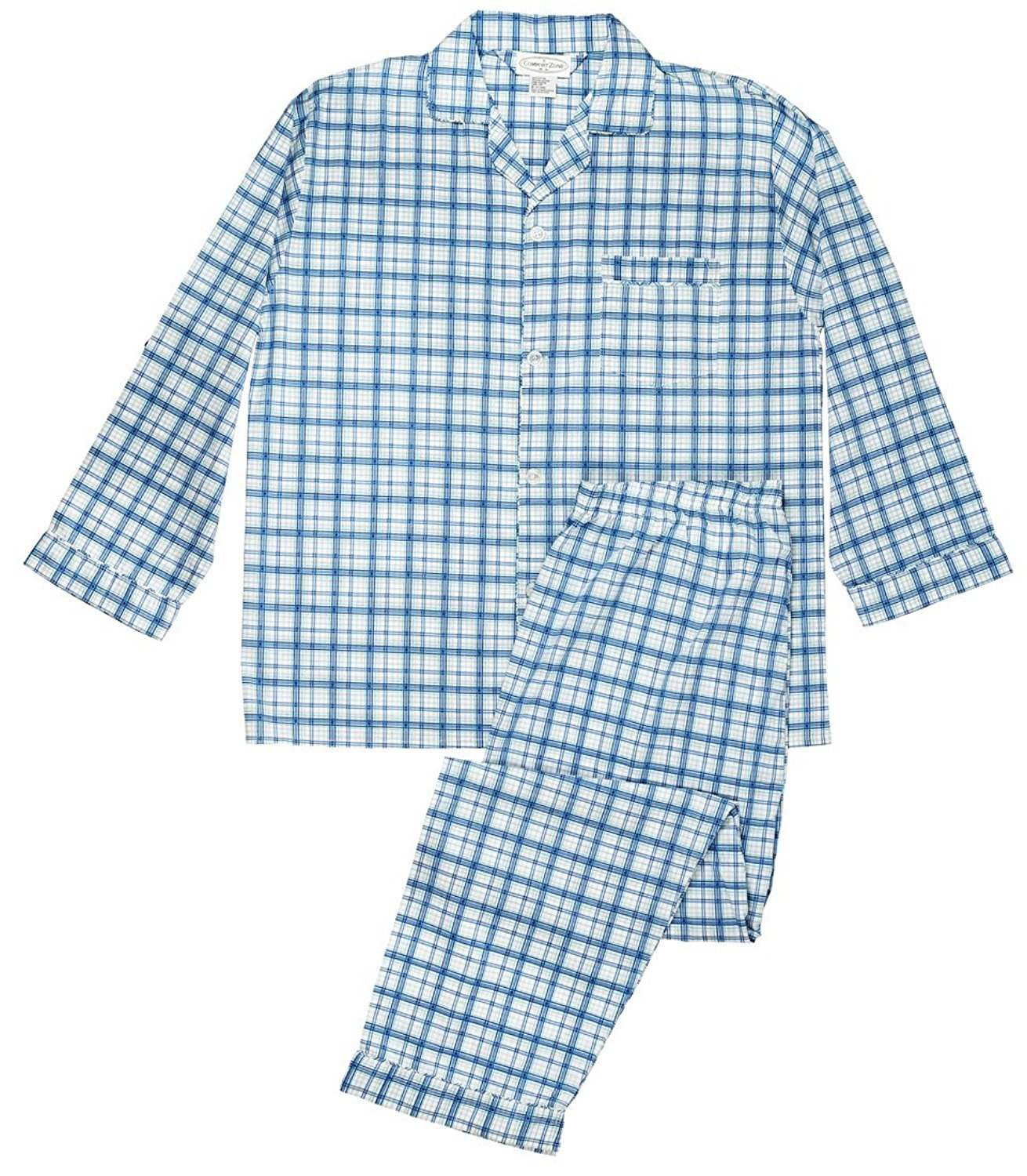 Men's Woven Sleepwear Long Sleeve Pajama Set Cotton Blend - Blue Plaids Medium
