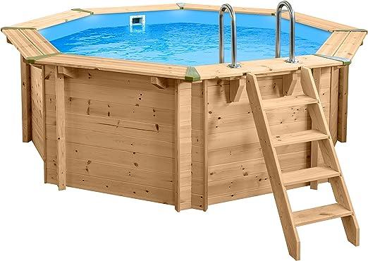 SL247 Luxus Redondo Pool de Madera I Piscina Sobre Suelo 355 cm ...
