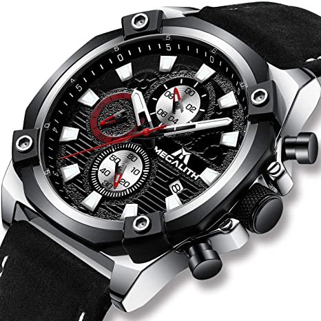 Relojes Hombre Relojes Grandes de Pulsera Militar Cronógrafo Impermeable Deportivo Diseñador Reloj de Cuero Marrón Analógico Calendario Moda Cool: ...