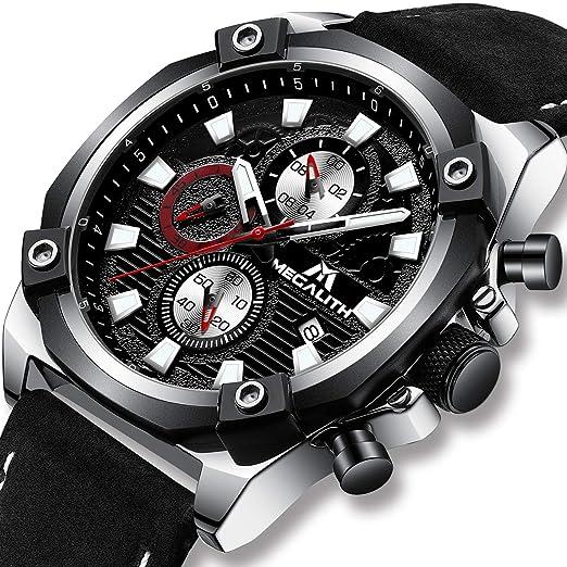 Relojes Hombre Relojes Grandes de Pulsera Deportivos Militares Cronografo Impermeable Analogico Diseñador Reloj de Cuero Negro de Lujo Luminosos Calendario: ...