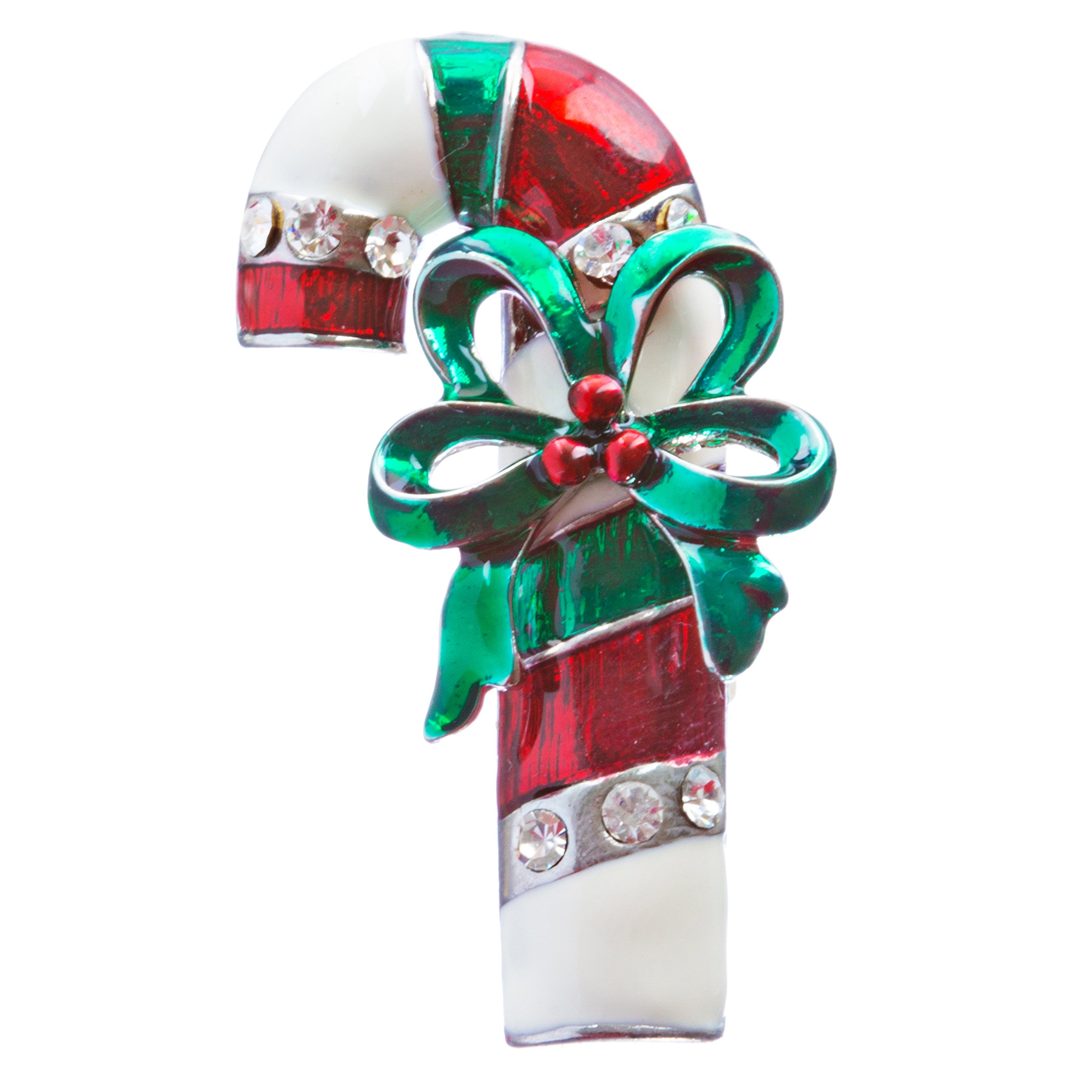 ACCESSORIESFOREVER Christmas Jewelry Crystal Rhinestone Holiday Adorable Candy Cane Brooch BH136 MT